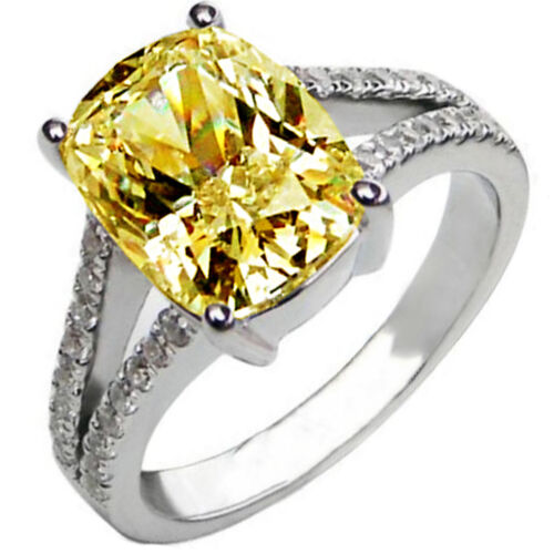 GIA Certified Fancy Yellow Cushion Diamond Engagement Ring 6.25CT Split Shank