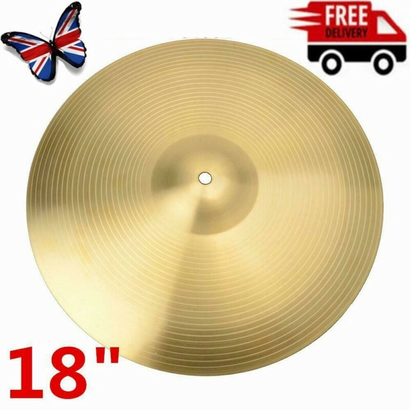 Professional 18 Inch 0.8mm Copper Alloy Ride Cymbal For Drum Set Golden Durable