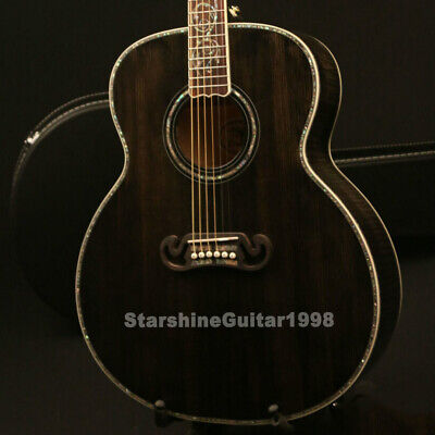 Acoustic Guitar Solid Spruce Top Real Abalone Inlay Grover Tuner Free Hardcase