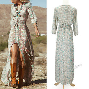 Women-Sexy-Boho-Maxi-Dress-Summer-Casual-Chiffon-Floral-Evening-Party-Beach-Long