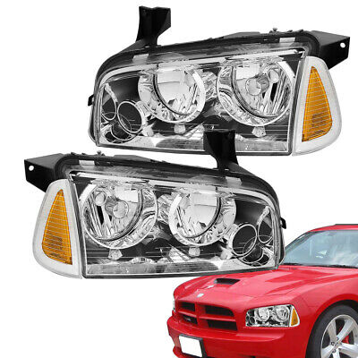 For 2006-2010 Dodge Charger Clear Replacement Headlights+Signal Corner Lights