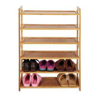 6 Tier 100% Natural Bamboo Shoe Shelf Storage Rack Organizer Furniture Entryway