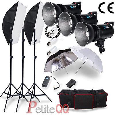 900W Digital LED DISPLAY Photo Studio Flash Lighting Kit Strobe Fan Cooled Light