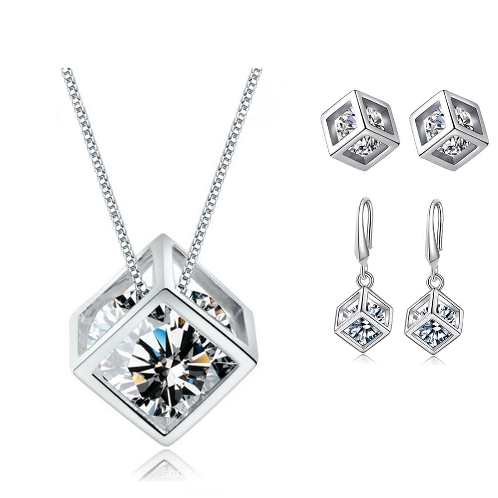 Jewellery - 925 Sterling Silver Cube Pendant Necklace Stud Hook Earrings Womens Jewellery UK