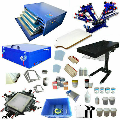 Updated Diy Material Supply Full Set 4 Color 1 Station Screen Printing Press Kit