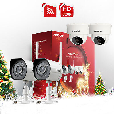 Zmodo 720p 4 IP Wireless Indoor Outdoor Night Vision Home Security Camera System