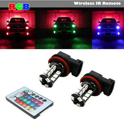 2pcs 7-Color RGB H11/H8 LED Bulbs For Fog Light Driving Lamps Wireless IR Remote