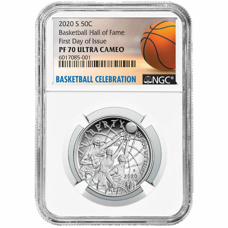 2020-S Proof 50c Basketball Hall of Fame Half Dollar NGC PF70UC FDI Basketball L