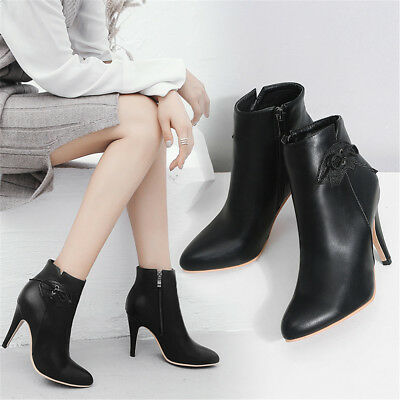 Leder Ankle Boot Spitze (Bankett Damen Spitz Winter Ankle Boot Hoherabsatz Party Kunstleder Stiefel 28-52)