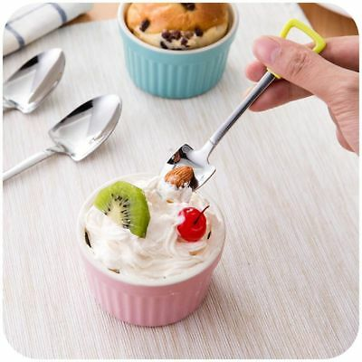 Coffee Kitchen Long Handle Spoon Fork Shovel Shape Ice Cream Stainless Steel