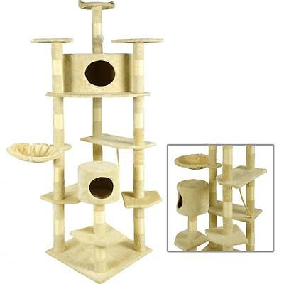 "New Beige 80"" Cat Tree Condo Furniture Scratching Post Pet Cat Kitten House 9080"
