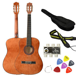 beginner acoustic guitar brown with guitar gig bag tuner strap and picks available at ebay for. Black Bedroom Furniture Sets. Home Design Ideas