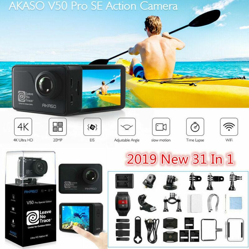 2019 AKASO V50 Pro SE Action Camera 4K/60fps Touch Screen WiFi EIS +3x Batteries