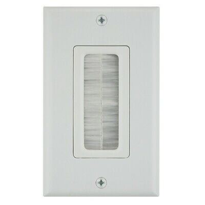 1 Gang Brush Wall Plate Port Insert Cover Outlet Low Voltage Cable White 1 Port White Wall Plate