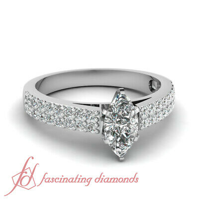 Engagement Ring Pave Set 0.85 Ct Marquise Cut SI2-E Color Diamond GIA Certified
