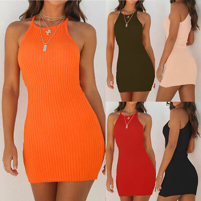 Sexy Women's Sleeveless Bandage Bodycon Evening Party Cocktail Short Mini Dress