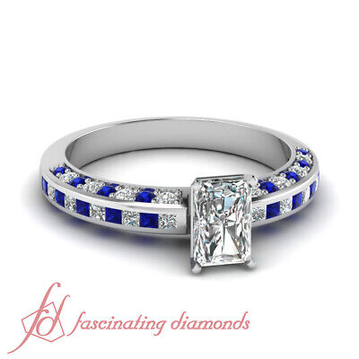 1 Carat Radiant Cut Diamond & Blue Sapphire Engagement Ring Channel Set VS1 GIA