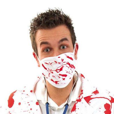 Mundmaske, weiß mit rot, Accessoire, Halloween  125410413F (Mund Maske Halloween)
