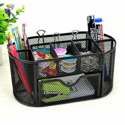 Office Supplies Desk Table Organizer Mesh Pen Pencil Holder Metal Storage Box