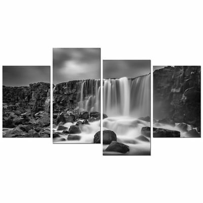 Large Canvas Wall Art Print Painting Picture Home Decor Landscape Gray Waterfall