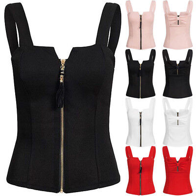 Sexy Women Zipper Tank Tops Cami Vest Ladies Sleeveless Camisole Blouse Shirt US ()