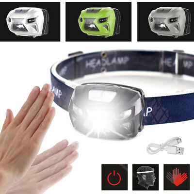 USB Rechargeable Sensor Head Torch Light Waterproof LED Headlamp Headlight