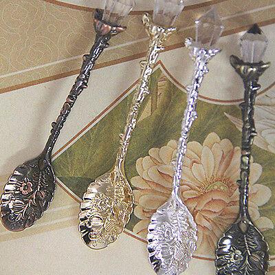 Vintage Carved Flower Crystal Coffee Teaspoon Ice Cream Tea Sugar Cake Spoon Crystal Ice Cream