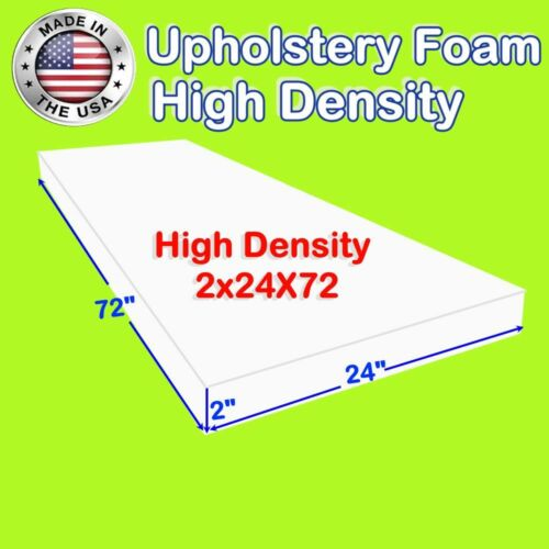 """Foamtouch 2"""" X 24"""" X 72"""" High Density Upholstery Foam Cushion Replacement"""