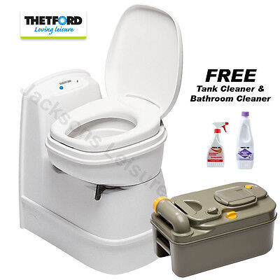 THETFORD C200 CS CASSETTE TOILET CARAVAN BOAT + FREE TANK & BATHROOM CLEANERS!