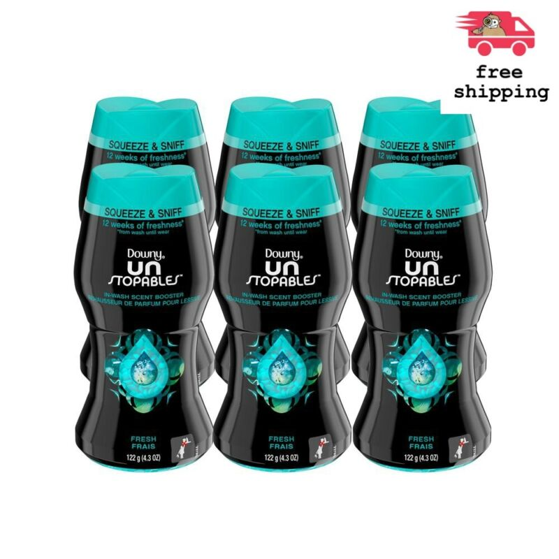 Case Of 6 Downy Unstopables Fresh Scent Fabric Softeners Booster Beads 4.3 Oz.