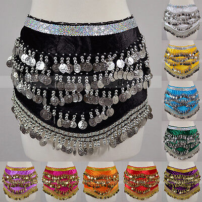 - Silver Gold Coins Sequins Beads Band Belly Dance Hip Scarf Wrap Belt Velvet