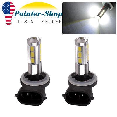 2x White 5730 SMD 881 LED High Power Fog Driving Light Bulbs 12V-24V 1200LM 13 Smd Led