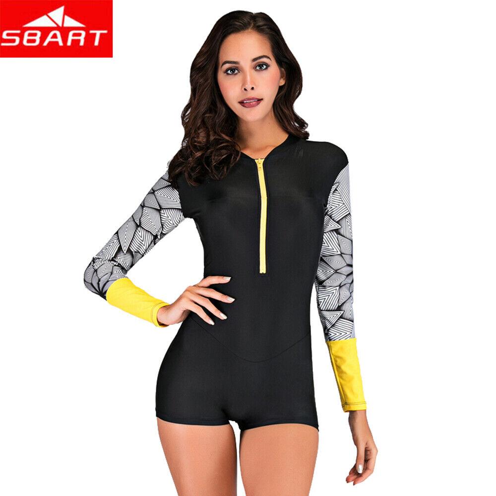 SBART Zipper One-piece Long Sleeve Women's Swimwear Swimsuit
