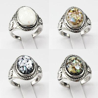 Shells Amber Gemstone New Jewelry 925 Silver  Men Women Ring Size 6 7 8 9 10