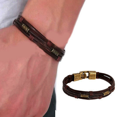 Mens Braided Leather Bracelet - Mens Vintage Braided Leather Wrist Band Brown Rope Cuff Bracelet Bangle 8.5 inch