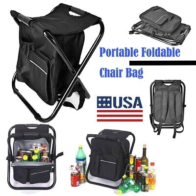 Outdoor Portable Foldable Chair Bag Hiking Camping Backpack Cooler Beach Storage