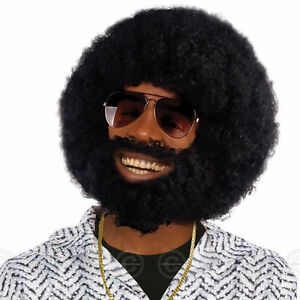 MENS BLACK AFRO WIG WITH FACIAL HAIR BEARD LIONEL 80s 70s 60s ADULT FANCY DRESS