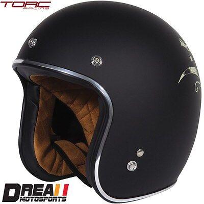 TORC T50 MATTE FLAT BLACK BULL HEAD 3/4 OPEN FACE MOTORCYCLE HELMET DOT XS - XXL