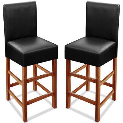 2x Wooden Bar Stool High Kitchen Breakfast Chair Padded Dining Barstool Black