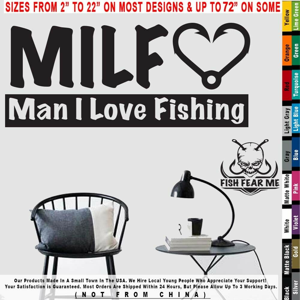 Fishing MILF Man I Love Fishing Boats Decal Sticker
