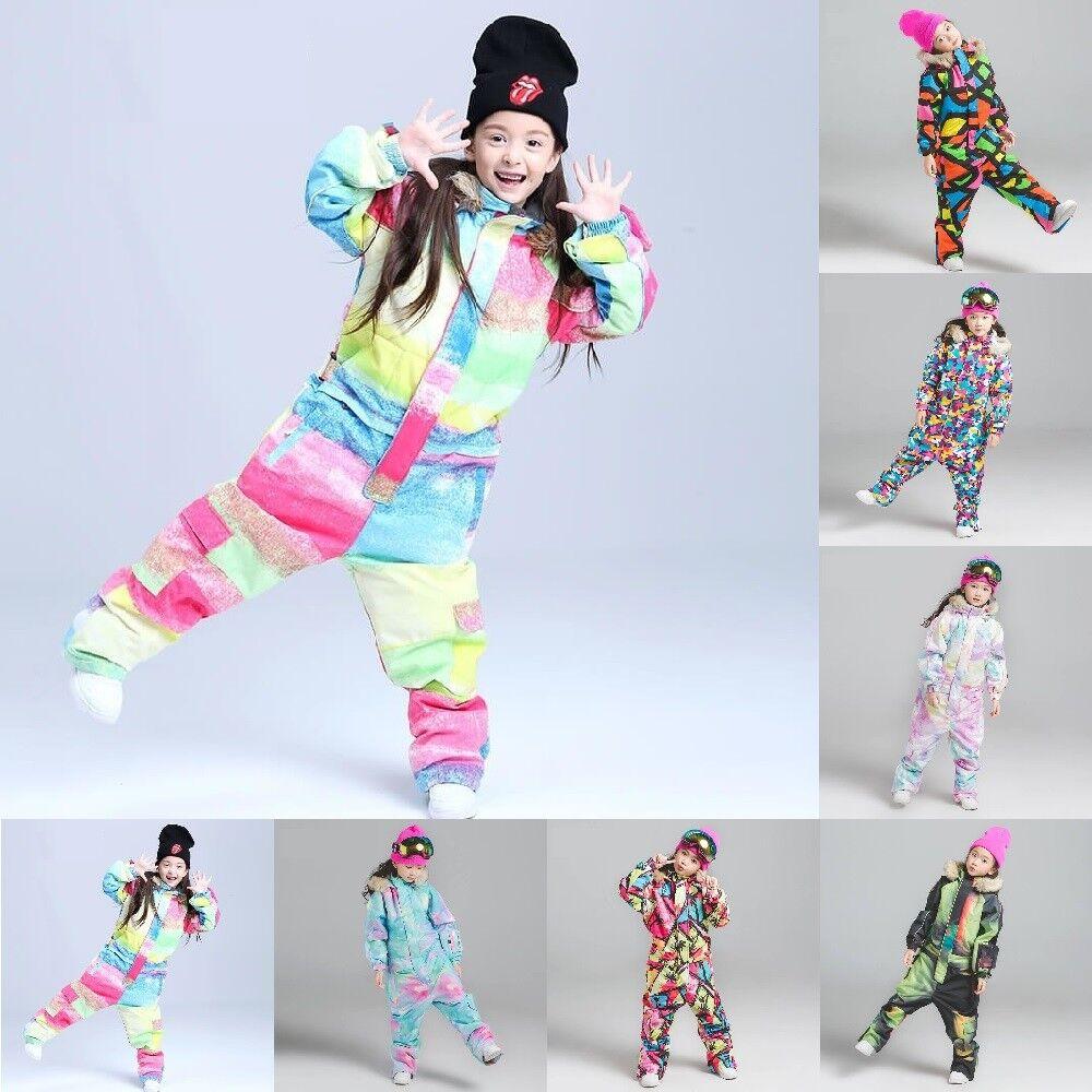 Kids Ski Suit Hooded One Piece Waterproof Breathable Skiing