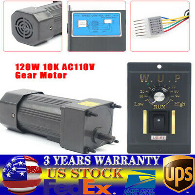 Ac 110v 120w Gear Motor Electric Motor Variable Speed Controller 110 0135rpm