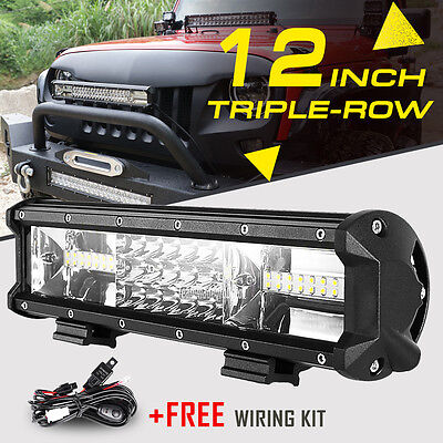 "TRI ROW 12""INCH 540W CREE LED WORK LIGHT BAR SPOT FLOOD COMBO OFFROAD UTV TRUCK"