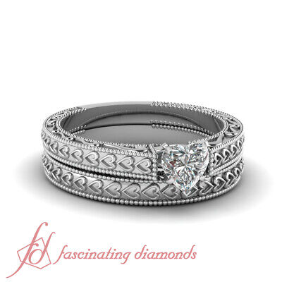 Solitaire Filigree Design Bridal Rings Set 0.50 Ct Heart Shaped VS2 Diamond GIA