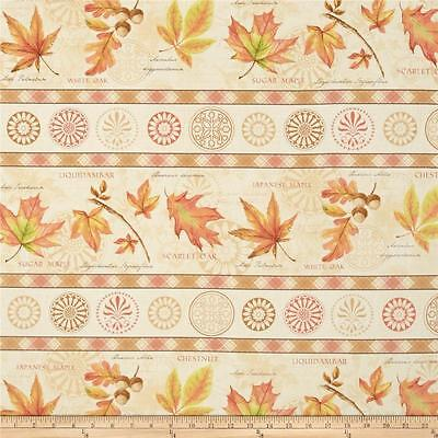 Fabric Leaves Fall Stripe Border on Cotton 1/4 - Fall Border