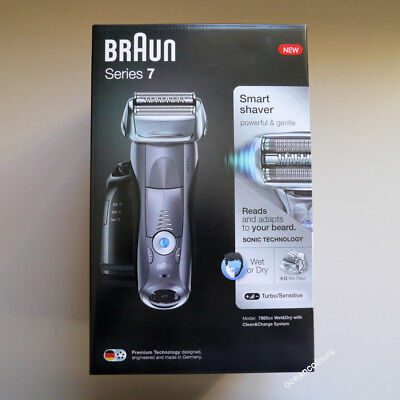 BRAUN Series 7 GREY 7865cc Mens Electric Foil Shaver Wet & Dry,Clean+Charge NEW