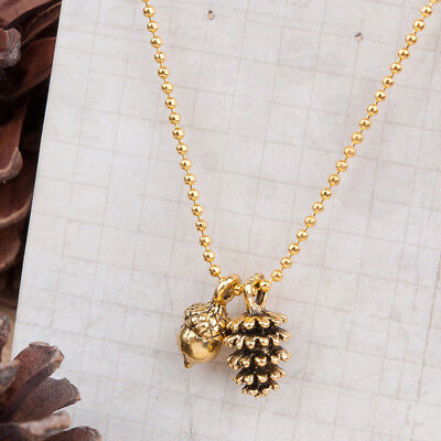 Tiny Pinecone Acorn Nut Charm Necklace, Pine Cone Golden, Fall Autumn Jewelry
