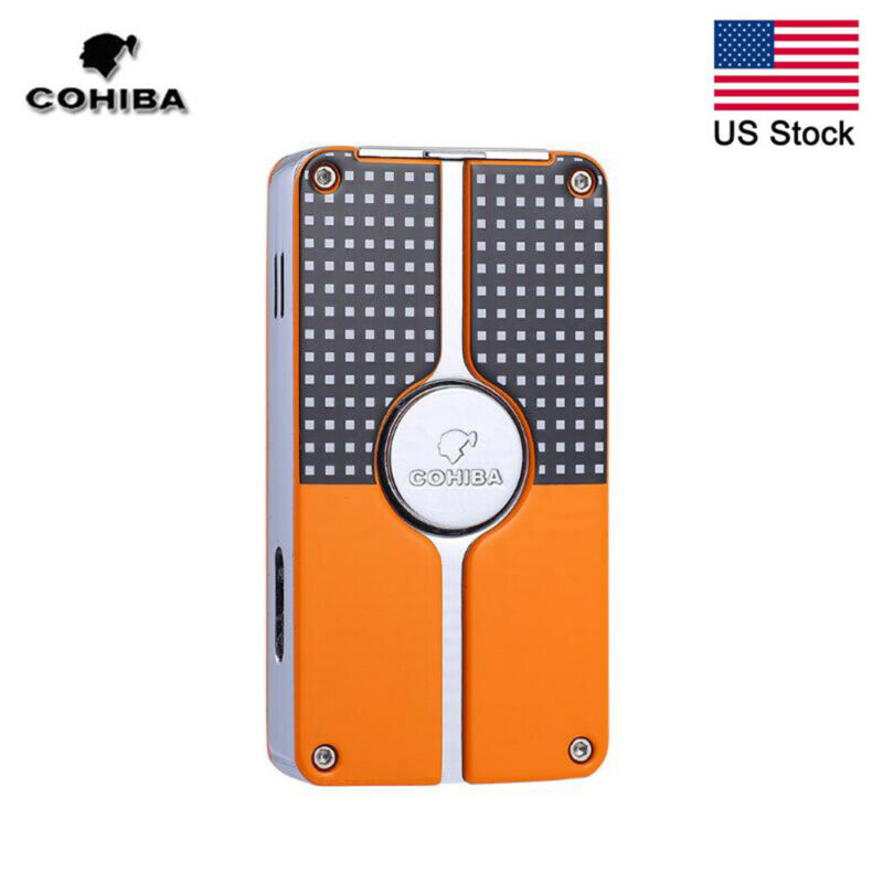 COHIBA Windproof Classic 3 Torch Jet Flame Metal Cigar Lighter Refillable Punch