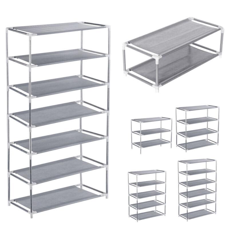 3/4/5/6/7 Tier Metal Shoe Rack Organizer Shelf Stand Wall Bench Closet Storage