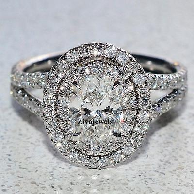 Certified 2.10 Ct Oval Cut Diamond Engagement Ring Double Halo 14K White Gold